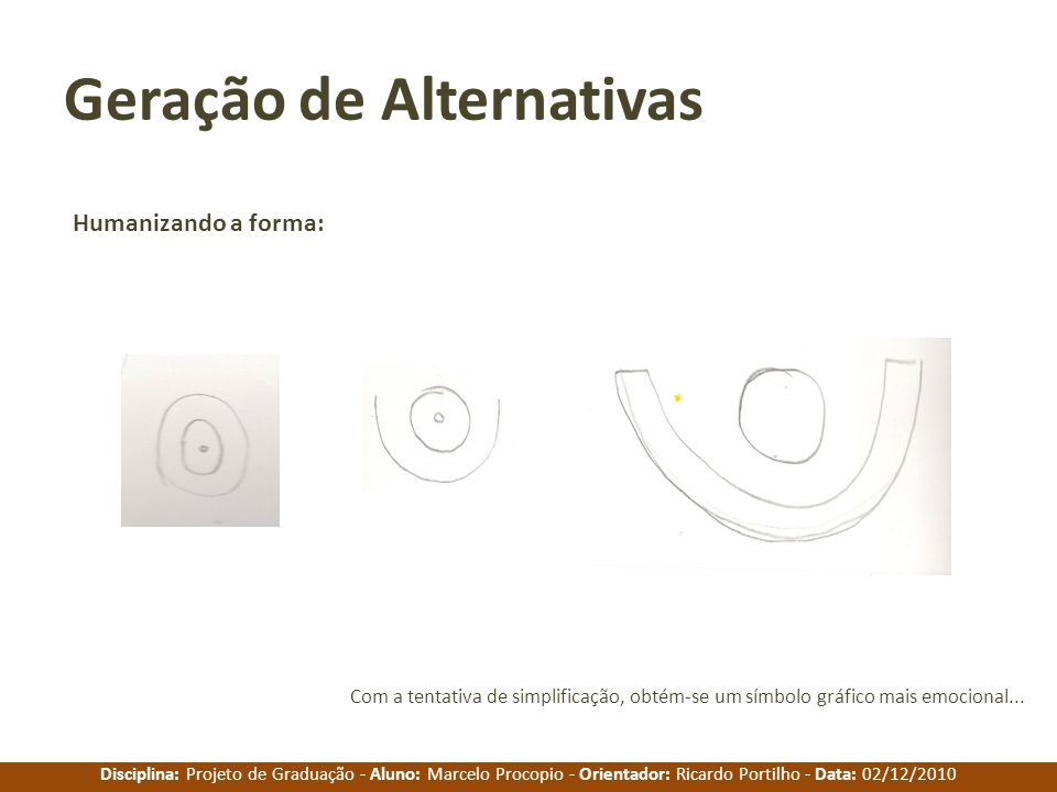 Disciplina: Projeto de Graduação - Aluno: Marcelo Procopio - Orientador: Ricardo Portilho - Data: 02/12/2010 Geração de Alternativas Humanizando a for