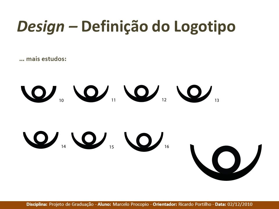 Disciplina: Projeto de Graduação - Aluno: Marcelo Procopio - Orientador: Ricardo Portilho - Data: 02/12/2010 Design – Definição do Logotipo... mais es