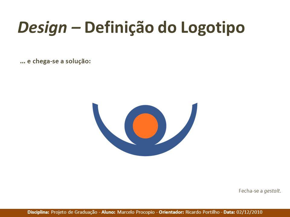 Disciplina: Projeto de Graduação - Aluno: Marcelo Procopio - Orientador: Ricardo Portilho - Data: 02/12/2010 Design – Definição do Logotipo... e chega