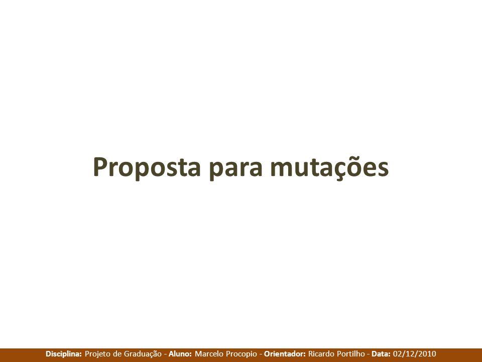 Disciplina: Projeto de Graduação - Aluno: Marcelo Procopio - Orientador: Ricardo Portilho - Data: 02/12/2010 Proposta para mutações