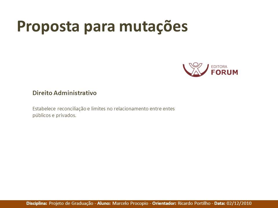 Disciplina: Projeto de Graduação - Aluno: Marcelo Procopio - Orientador: Ricardo Portilho - Data: 02/12/2010 Proposta para mutações Estabelece reconci