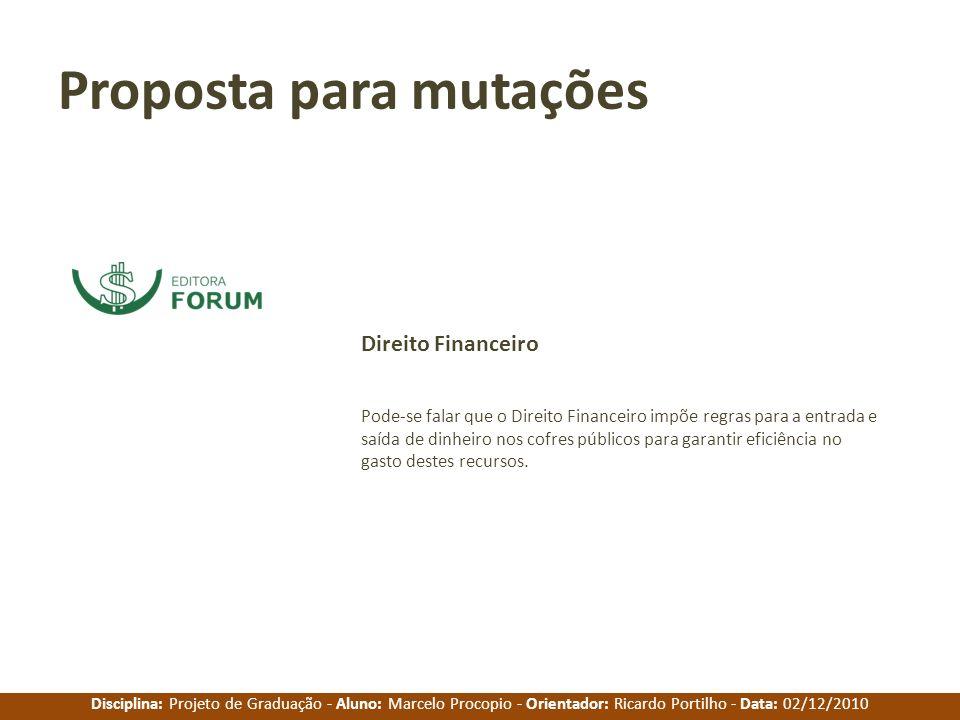 Disciplina: Projeto de Graduação - Aluno: Marcelo Procopio - Orientador: Ricardo Portilho - Data: 02/12/2010 Proposta para mutações Pode-se falar que