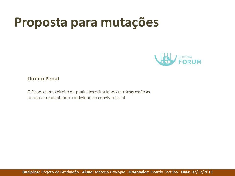 Disciplina: Projeto de Graduação - Aluno: Marcelo Procopio - Orientador: Ricardo Portilho - Data: 02/12/2010 Proposta para mutações O Estado tem o dir