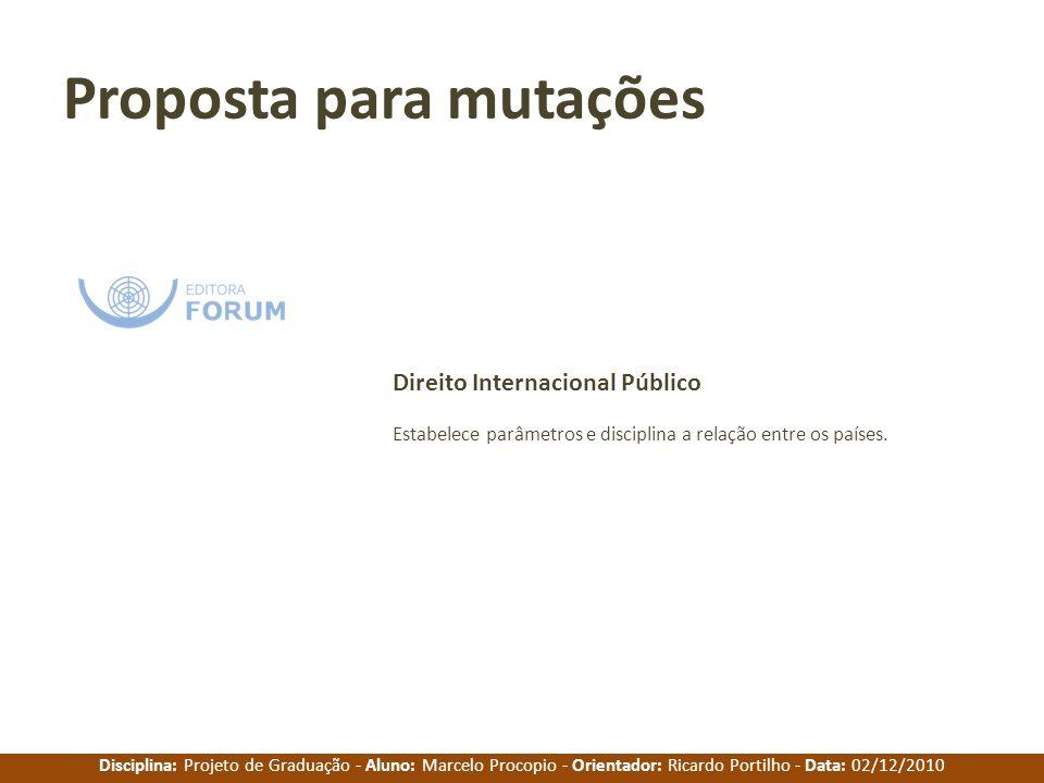 Disciplina: Projeto de Graduação - Aluno: Marcelo Procopio - Orientador: Ricardo Portilho - Data: 02/12/2010 Proposta para mutações Estabelece parâmet