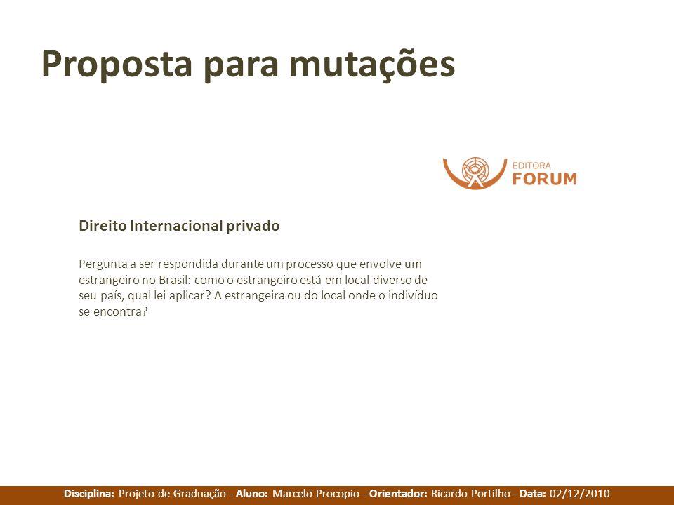 Disciplina: Projeto de Graduação - Aluno: Marcelo Procopio - Orientador: Ricardo Portilho - Data: 02/12/2010 Proposta para mutações Pergunta a ser res