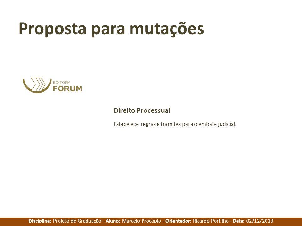 Disciplina: Projeto de Graduação - Aluno: Marcelo Procopio - Orientador: Ricardo Portilho - Data: 02/12/2010 Proposta para mutações Estabelece regras