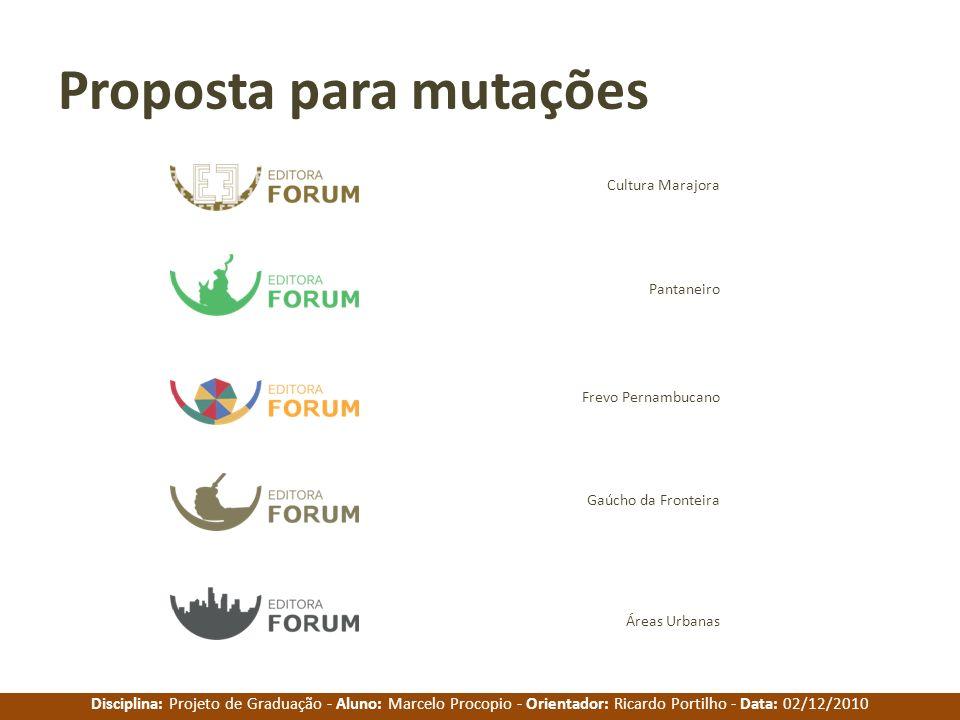 Disciplina: Projeto de Graduação - Aluno: Marcelo Procopio - Orientador: Ricardo Portilho - Data: 02/12/2010 Proposta para mutações Cultura Marajora P
