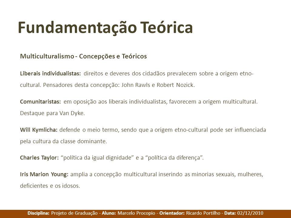 Disciplina: Projeto de Graduação - Aluno: Marcelo Procopio - Orientador: Ricardo Portilho - Data: 02/12/2010 Fundamentação Teórica Multiculturalismo -