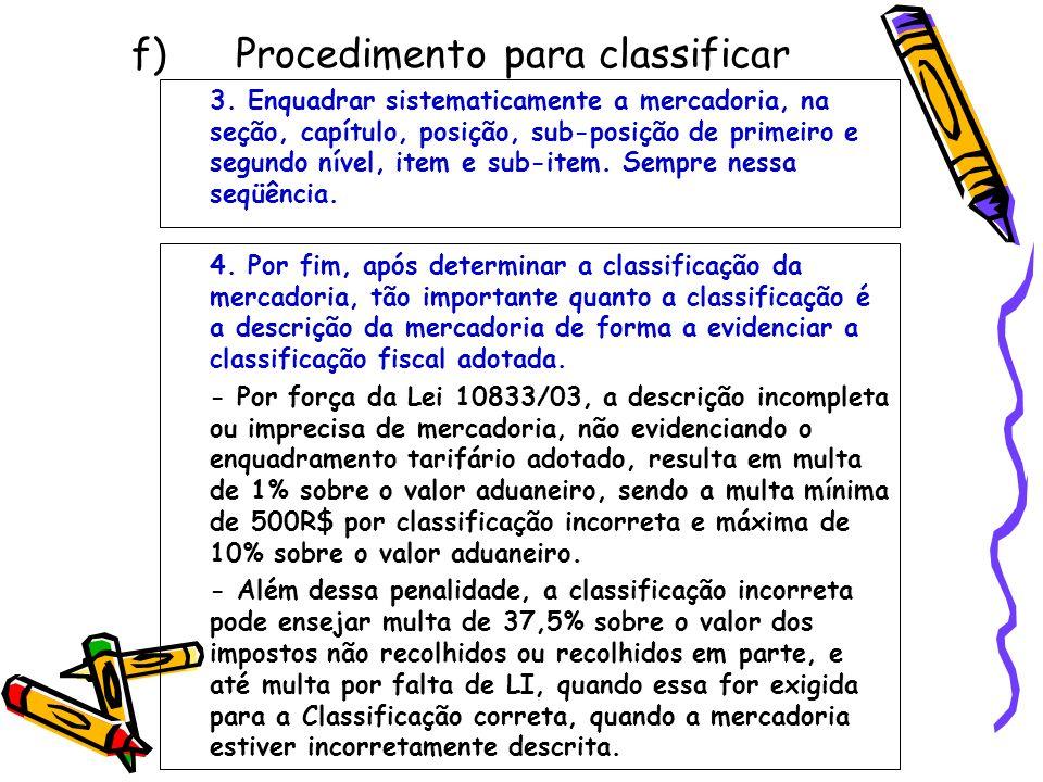 f) Procedimento para classificar 3. Enquadrar sistematicamente a mercadoria, na seção, capítulo, posição, sub-posição de primeiro e segundo nível, ite