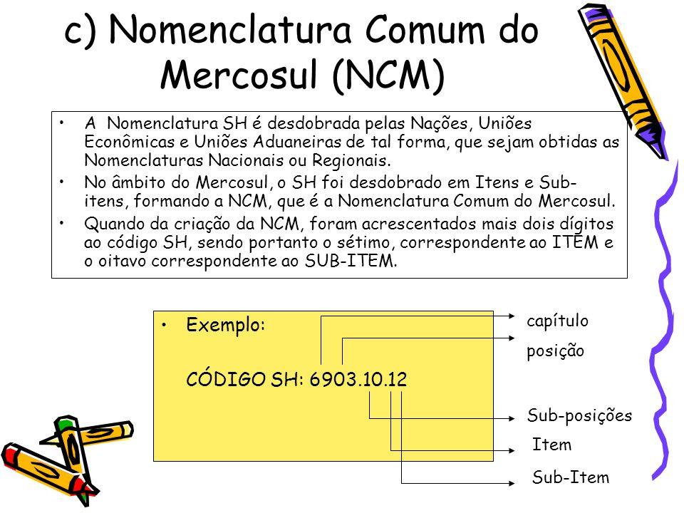 c) Nomenclatura Comum do Mercosul (NCM) A Nomenclatura SH é desdobrada pelas Nações, Uniões Econômicas e Uniões Aduaneiras de tal forma, que sejam obt