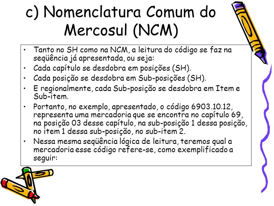 c) Nomenclatura Comum do Mercosul (NCM) Tanto no SH como na NCM, a leitura do código se faz na seqüência já apresentada, ou seja: Cada capítulo se des