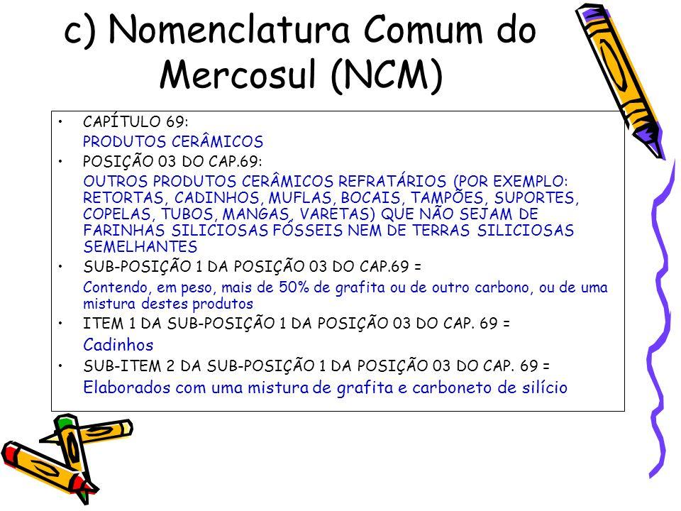 c) Nomenclatura Comum do Mercosul (NCM) CAPÍTULO 69: PRODUTOS CERÂMICOS POSIÇÃO 03 DO CAP.69: OUTROS PRODUTOS CERÂMICOS REFRATÁRIOS (POR EXEMPLO: RETO