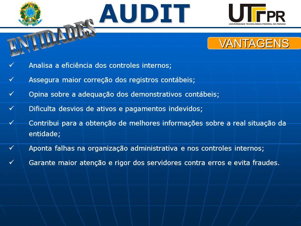 AUDIT Analisa a eficiência dos controles internos; Assegura maior correção dos registros contábeis; Opina sobre a adequação dos demonstrativos contábe