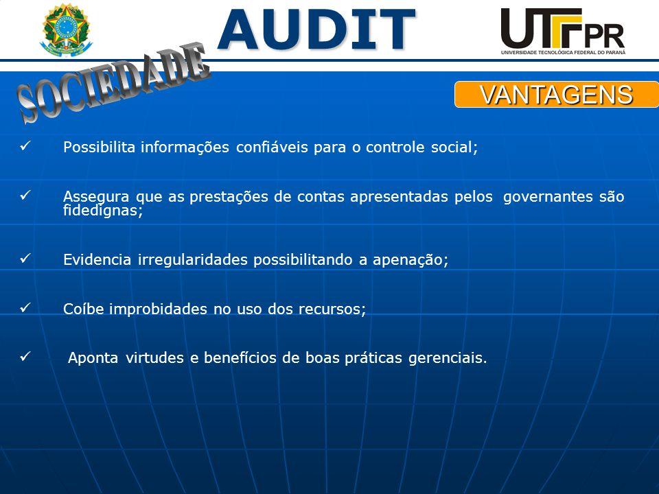 AUDIT Possibilita informações confiáveis para o controle social; Assegura que as prestações de contas apresentadas pelos governantes são fidedignas; E