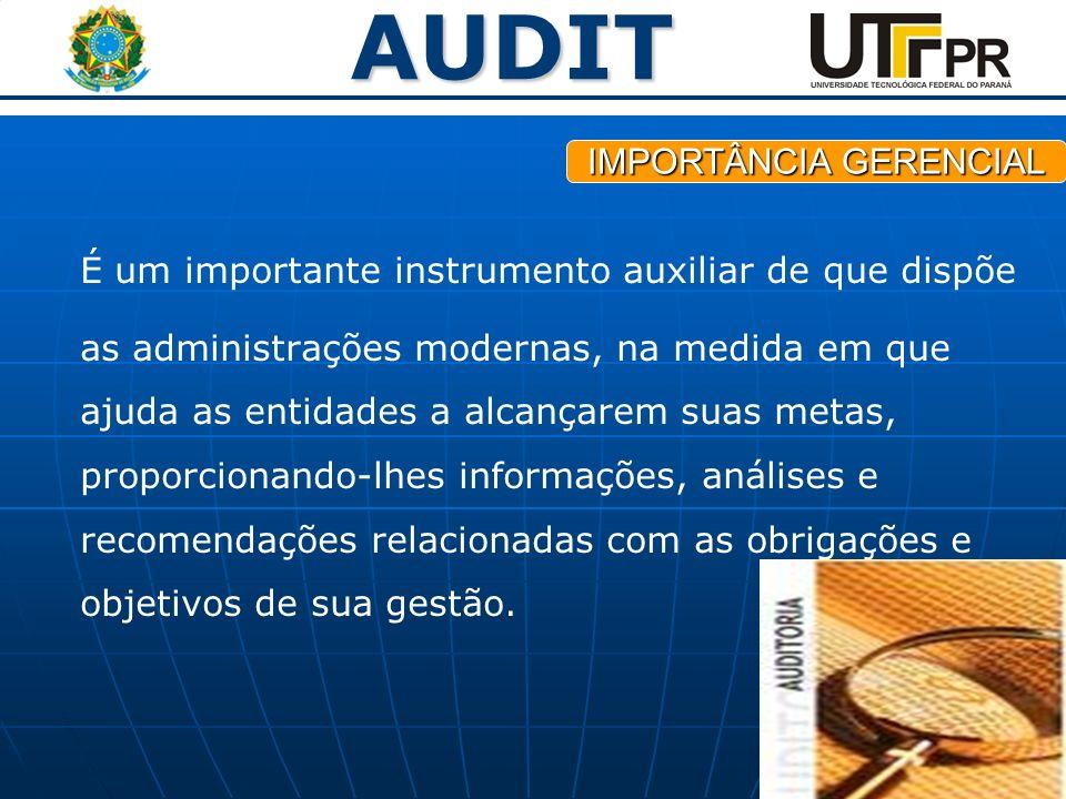 AUDIT É um importante instrumento auxiliar de que dispõe as administrações modernas, na medida em que ajuda as entidades a alcançarem suas metas, prop