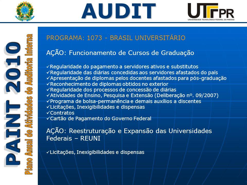 AUDIT PAINT 2010 PROGRAMA: 1073 - BRASIL UNIVERSITÁRIO AÇÃO: Funcionamento de Cursos de Graduação Regularidade do pagamento a servidores ativos e subs
