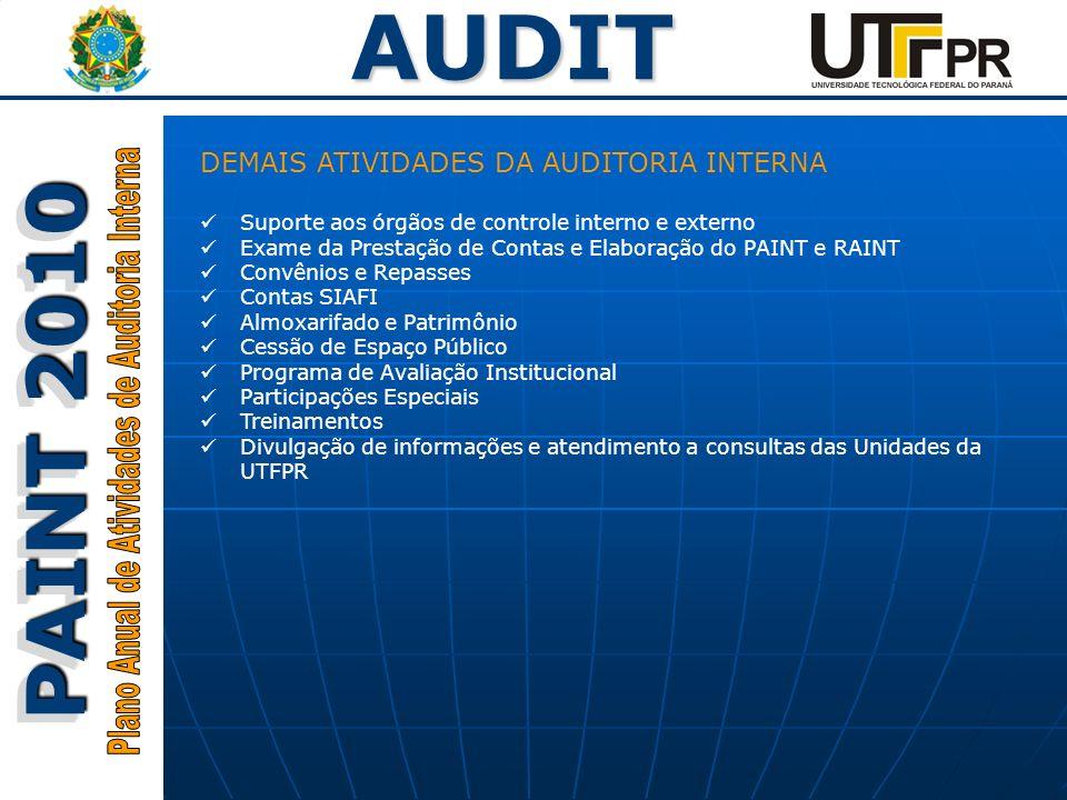 AUDIT PAINT 2010 DEMAIS ATIVIDADES DA AUDITORIA INTERNA Suporte aos órgãos de controle interno e externo Exame da Prestação de Contas e Elaboração do