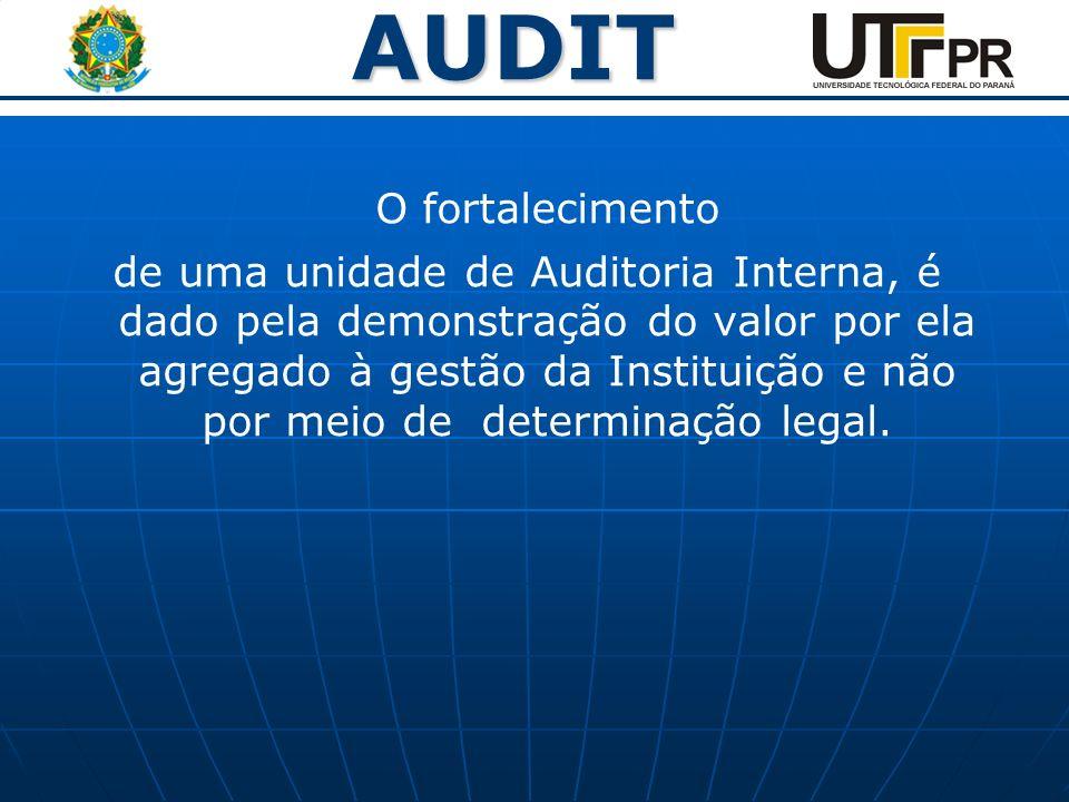 AUDIT O fortalecimento de uma unidade de Auditoria Interna, é dado pela demonstração do valor por ela agregado à gestão da Instituição e não por meio