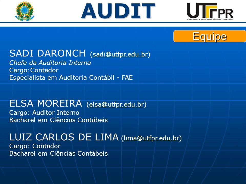 AUDIT SADI DARONCH (sadi@utfpr.edu.br) Chefe da Auditoria Interna Cargo:Contador Especialista em Auditoria Contábil - FAEsadi@utfpr.edu.br ELSA MOREIR