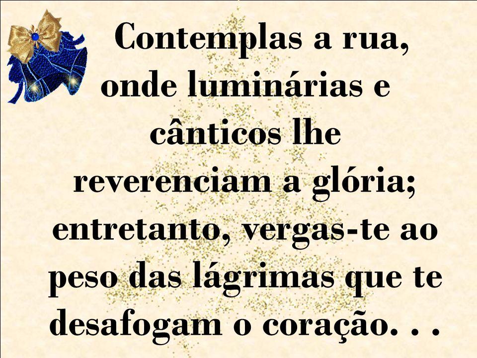 Contemplas a rua, onde luminárias e cânticos lhe reverenciam a glória; entretanto, vergas-te ao peso das lágrimas que te desafogam o coração...