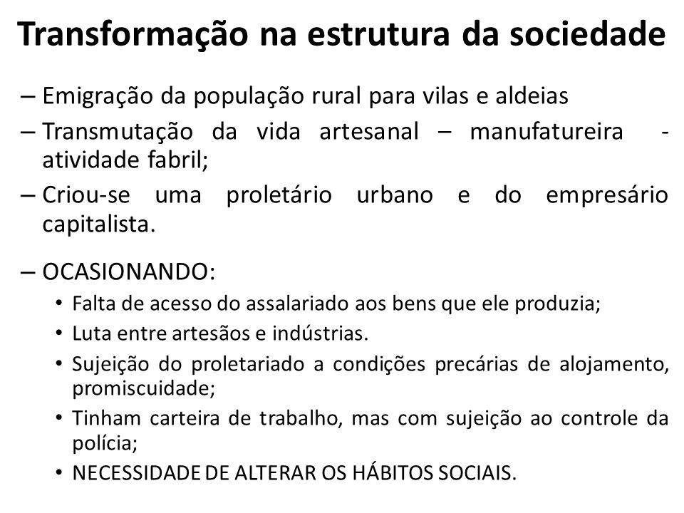 Transformação na estrutura da sociedade – Emigração da população rural para vilas e aldeias – Transmutação da vida artesanal – manufatureira - ativida