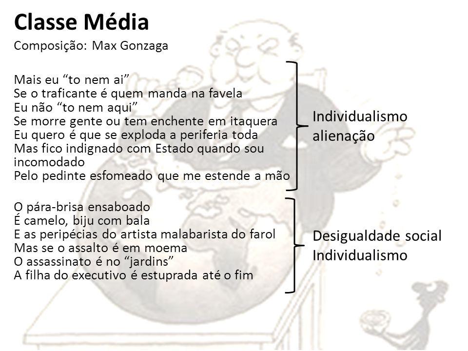 Classe Média Composição: Max Gonzaga Mais eu to nem ai Se o traficante é quem manda na favela Eu não to nem aqui Se morre gente ou tem enchente em ita