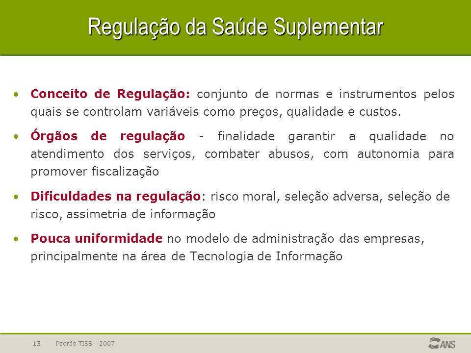 Padrão TISS - 200713 Regulação da Saúde Suplementar Conceito de Regulação: conjunto de normas e instrumentos pelos quais se controlam variáveis como p