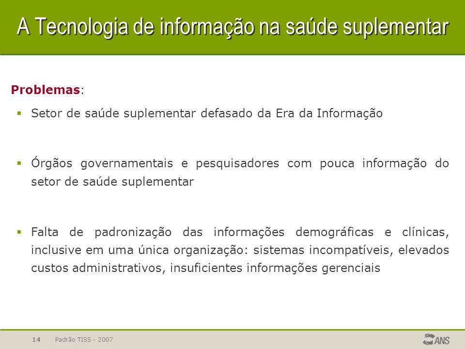 Padrão TISS - 200714 A Tecnologia de informação na saúde suplementar Problemas: Setor de saúde suplementar defasado da Era da Informação Órgãos govern