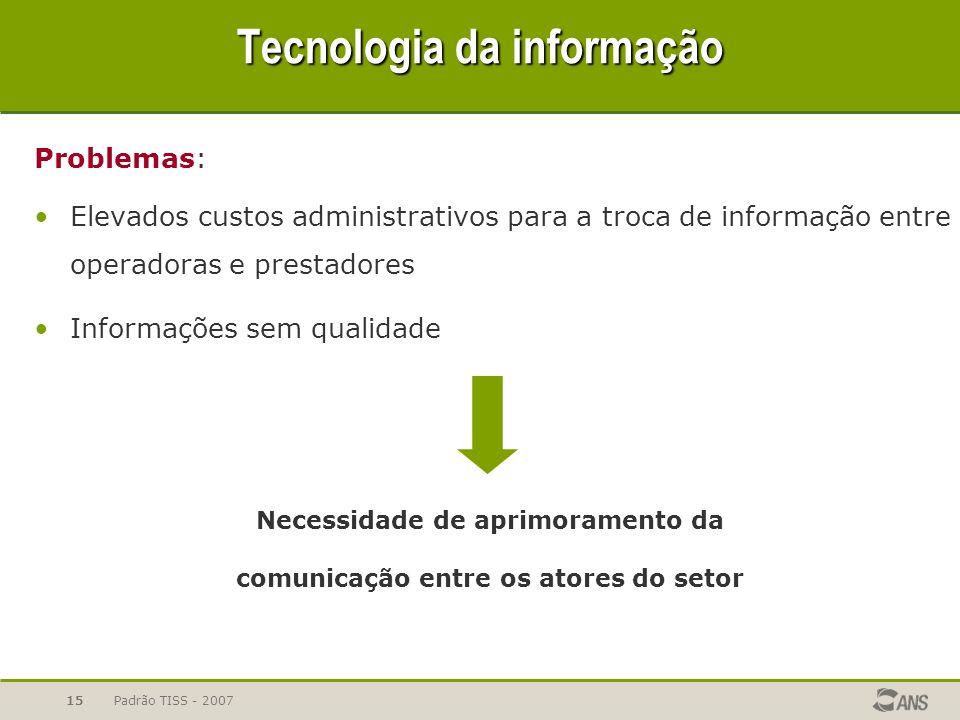 Padrão TISS - 200715 Problemas: Elevados custos administrativos para a troca de informação entre operadoras e prestadores Informações sem qualidade Te