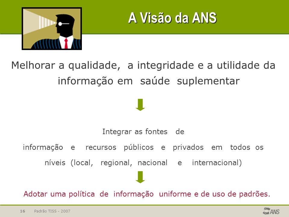 Padrão TISS - 200716 A Visão da ANS Melhorar a qualidade, a integridade e a utilidade da informação em saúde suplementar Integrar as fontes de informa