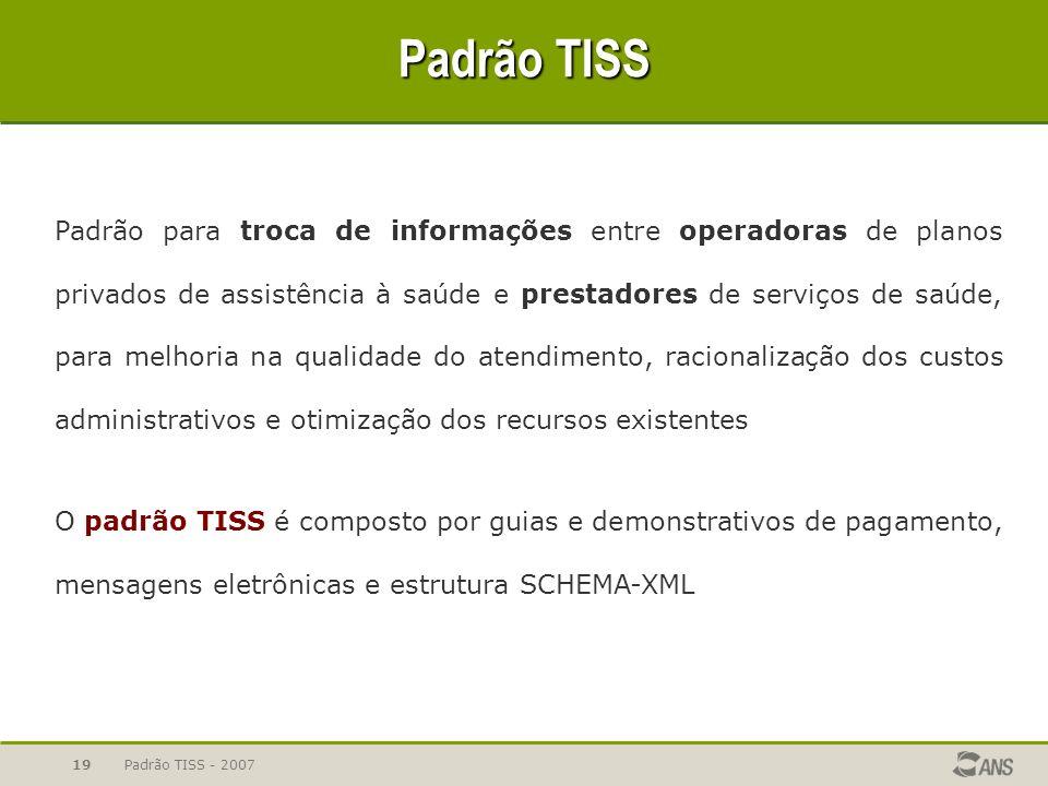 Padrão TISS - 200719 Padrão TISS Padrão para troca de informações entre operadoras de planos privados de assistência à saúde e prestadores de serviços