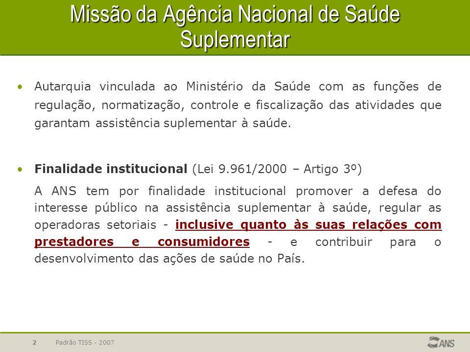 Padrão TISS - 20072 Missão da Agência Nacional de Saúde Suplementar Autarquia vinculada ao Ministério da Saúde com as funções de regulação, normatizaç