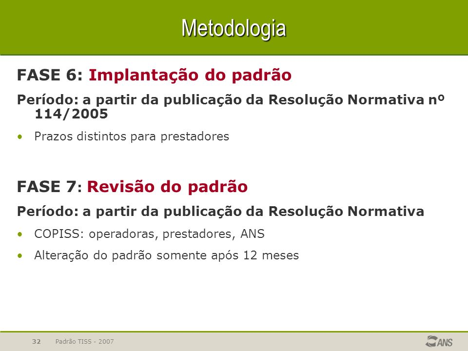 Padrão TISS - 200732 Metodologia FASE 6: Implantação do padrão Período: a partir da publicação da Resolução Normativa nº 114/2005 Prazos distintos par