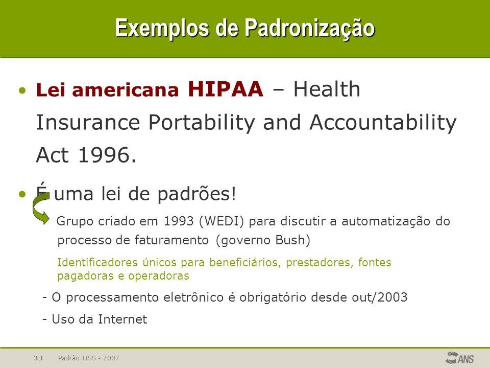 Padrão TISS - 200733 Exemplos de Padronização Lei americana HIPAA – Health Insurance Portability and Accountability Act 1996. É uma lei de padrões! -