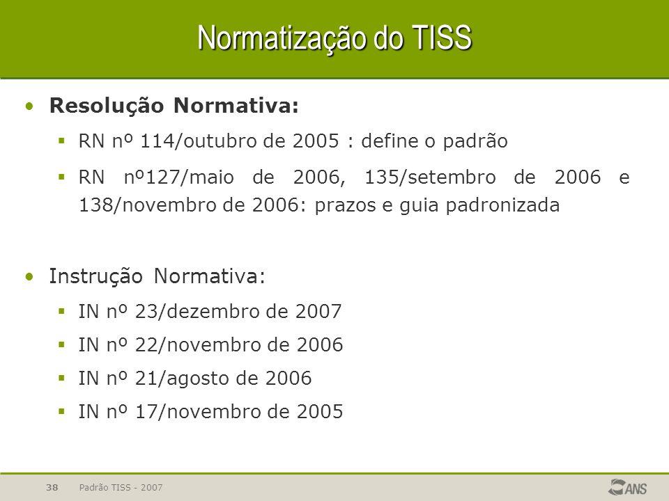 Padrão TISS - 200738 Normatização do TISS Resolução Normativa: RN nº 114/outubro de 2005 : define o padrão RN nº127/maio de 2006, 135/setembro de 2006