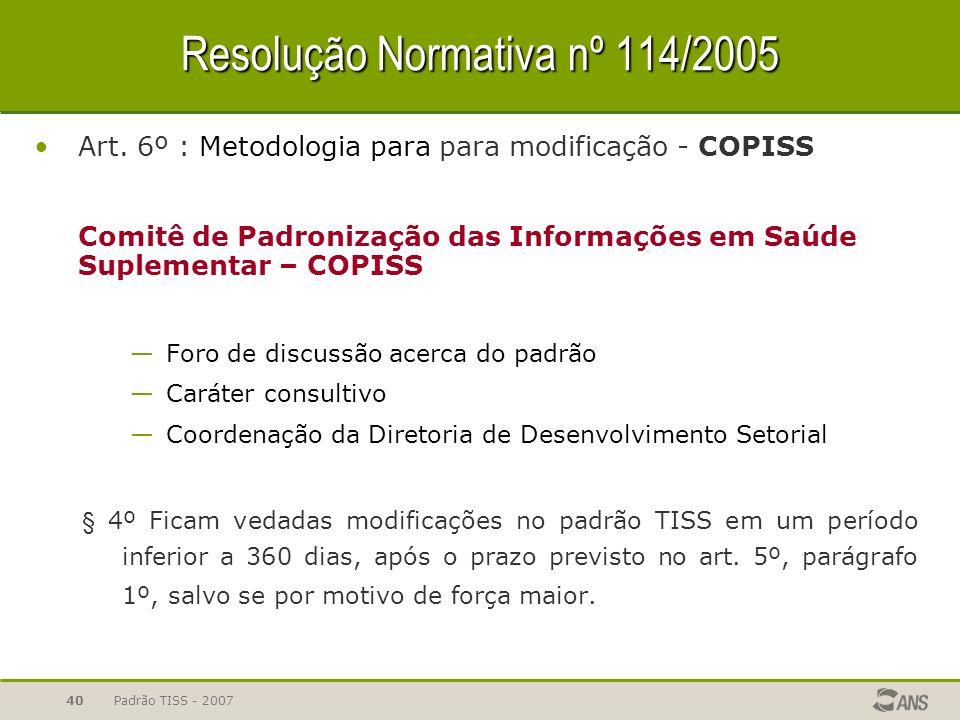 Padrão TISS - 200740 Resolução Normativa nº 114/2005 Art. 6º : Metodologia para para modificação - COPISS Comitê de Padronização das Informações em Sa