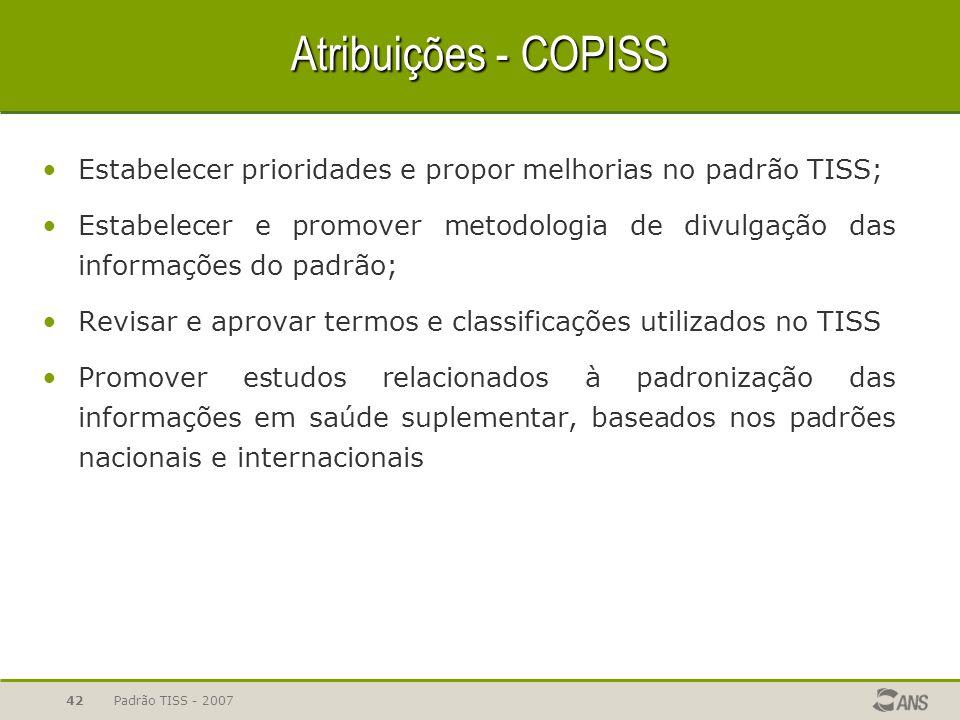Padrão TISS - 200742 Atribuições - COPISS Estabelecer prioridades e propor melhorias no padrão TISS; Estabelecer e promover metodologia de divulgação