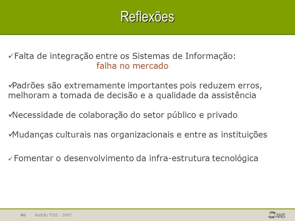 Padrão TISS - 200746 Reflexões Falta de integração entre os Sistemas de Informação: falha no mercado Padrões são extremamente importantes pois reduzem