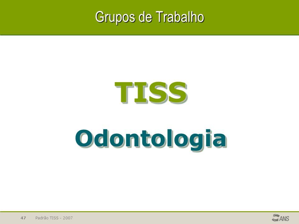 Padrão TISS - 200747 Grupos de Trabalho TISSOdontologiaTISSOdontologia