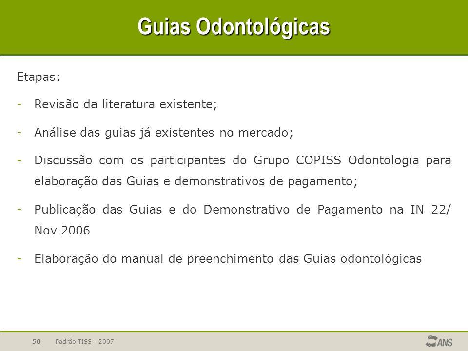 Padrão TISS - 200750 Guias Odontológicas Etapas: -Revisão da literatura existente; -Análise das guias já existentes no mercado; -Discussão com os part