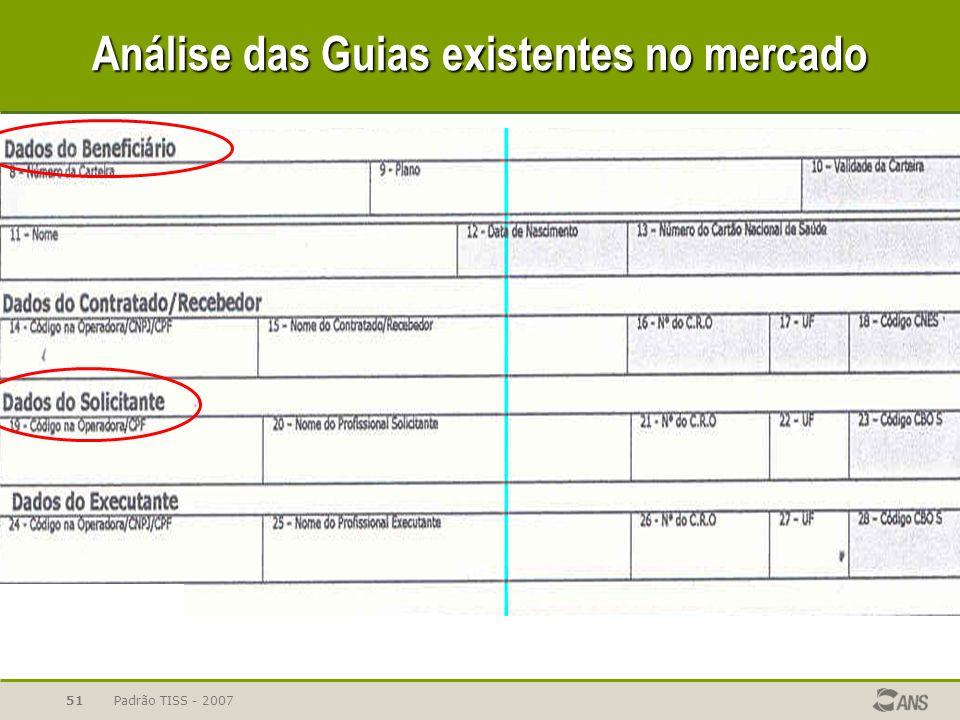 Padrão TISS - 200751 Análise das Guias existentes no mercado