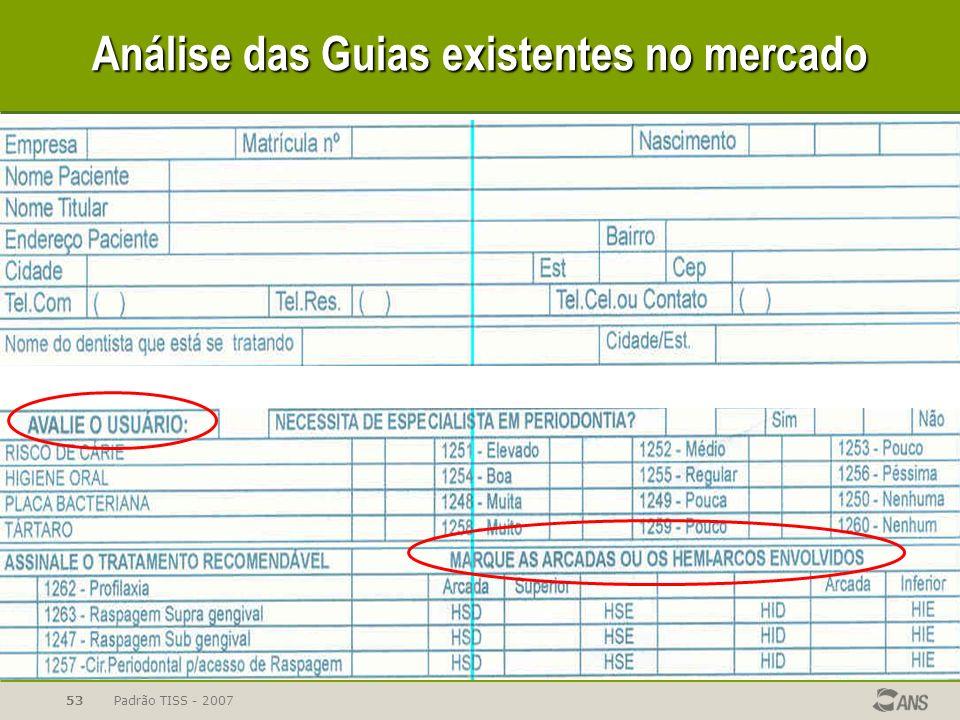 Padrão TISS - 200753 Análise das Guias existentes no mercado
