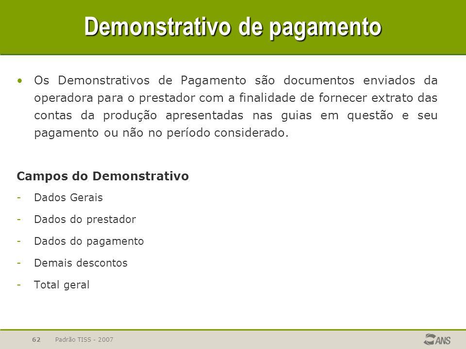 Padrão TISS - 200762 Demonstrativo de pagamento Os Demonstrativos de Pagamento são documentos enviados da operadora para o prestador com a finalidade