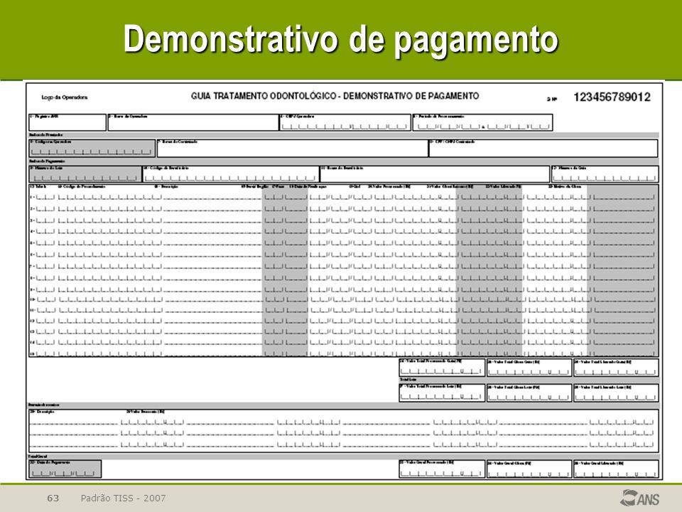 Padrão TISS - 200763 Demonstrativo de pagamento