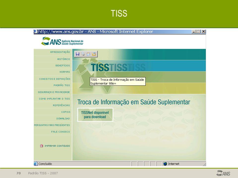 Padrão TISS - 200770 TISS