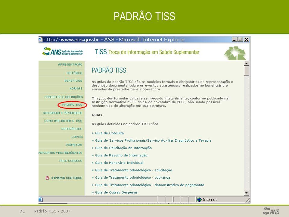 Padrão TISS - 200771 PADRÃO TISS