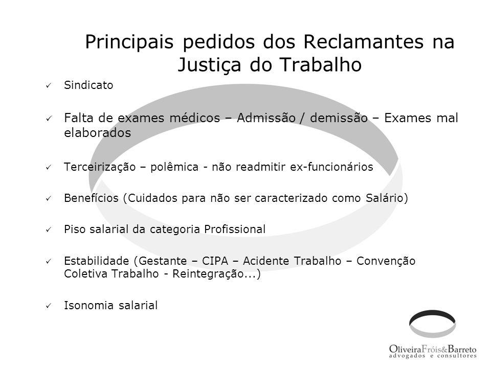 Principais pedidos dos Reclamantes na Justiça do Trabalho Sindicato Falta de exames médicos – Admissão / demissão – Exames mal elaborados Terceirizaçã
