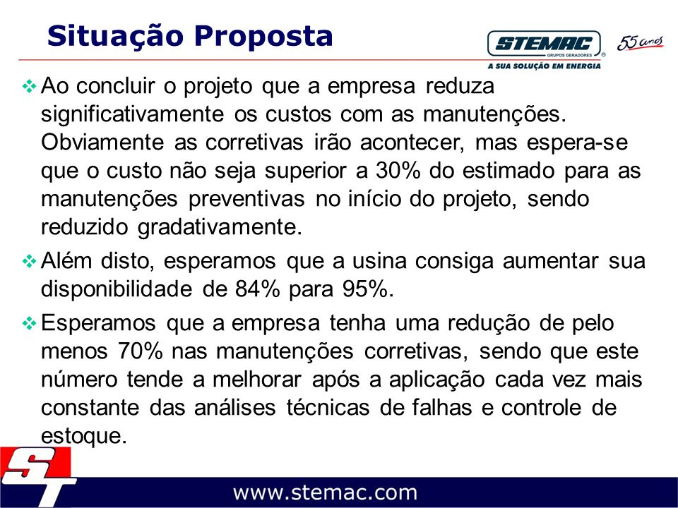 Situação Proposta Ao concluir o projeto que a empresa reduza significativamente os custos com as manutenções. Obviamente as corretivas irão acontecer,