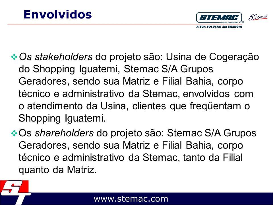 Envolvidos Os stakeholders do projeto são: Usina de Cogeração do Shopping Iguatemi, Stemac S/A Grupos Geradores, sendo sua Matriz e Filial Bahia, corp