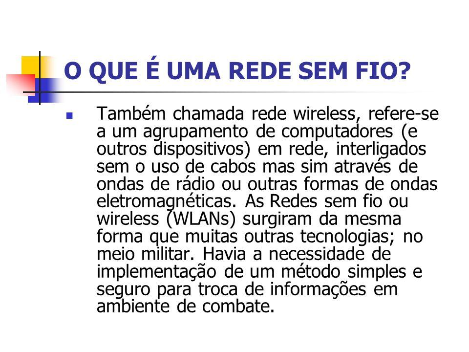 O QUE É UMA REDE SEM FIO? Também chamada rede wireless, refere-se a um agrupamento de computadores (e outros dispositivos) em rede, interligados sem o